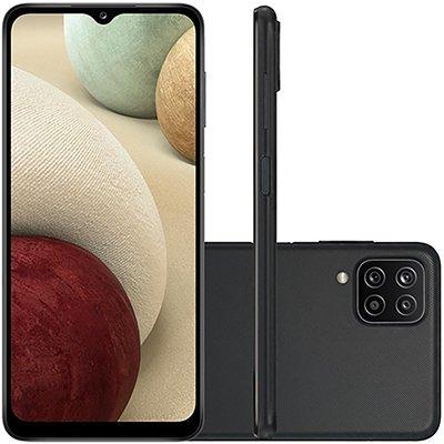 Smartphone Galaxy A12 SM-A125M, Android 10, Armazenamento 64GB, Tela 6.5, Câmera múltiplas 48.0 MP + 5.0 MP + 2.0 MP + 2.0 MP,  Preto - Samsung CX 1 UN