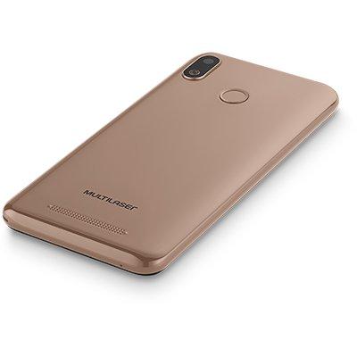 "Smartphone MultilaserG, Android 9 Pie, 32GB de Armazenamento, Câmera Frontal de 5MP, Câmera Traseira de 5MP, Tela de 5.5"", Dourado - CX 1 UN"