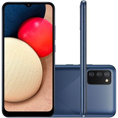 Smartphone Galaxy A02sA025M, Android, 32 GB de Armazenamento, Câmera Frontal de 5MP, Câmera Traseira Tripla de 13MP + 2MP + 2MP,  Tela 6.5, Azul - Samsung CX 1 UN
