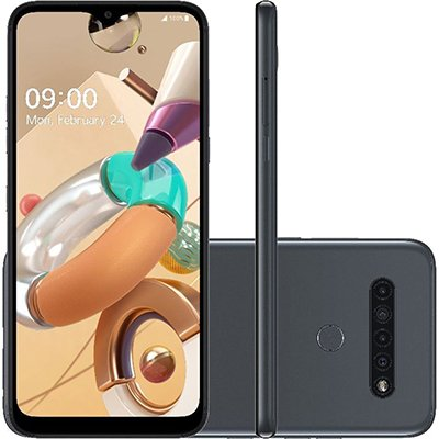 """Smartphone K41S LMK410BMW, Android 9, 32GB de Armazenamento, Câmera Frontal de 8MP, Câmera Traseira Quádrupla de 13MP + W5M + D2M + M2M, Tela de 6.5"""", Titânio - LG CX 1 UN"""