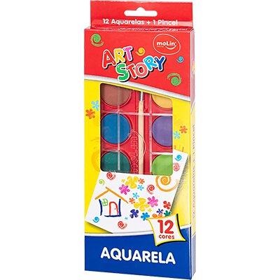 Aquarela 12 cores + 1 pincel 18385 Molin BT 1 UN
