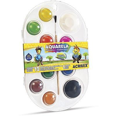 Aquarela 12 cores + 1 pincel 01812 Acrilex PT 1 UN