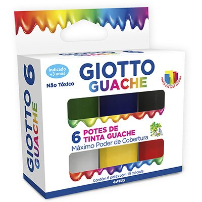 Tinta guache 15 ml c/ 6 cores Giotto 016000 Licyn CX 1 UN