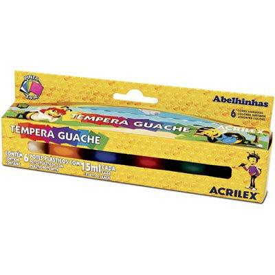 Tinta guache 15 ml c/6 cores 02006 Acrilex CX 1 UN