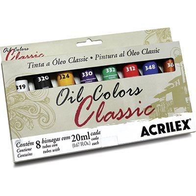 Tinta a óleo 20ml conjunto c/8 cores 14108 Acrilex CX 1 CJ