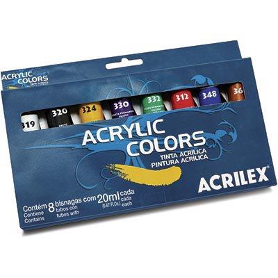 Tinta acrilica p/ tela c/20ml conjunto c/8 cores 13108 Acrilex CX 1 ET