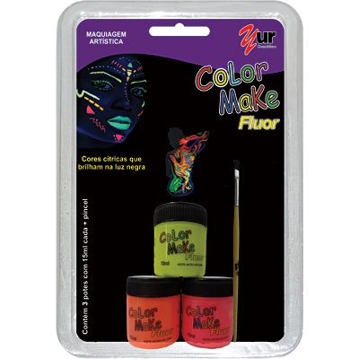 Tinta facial líquida Color Make c/ 3 cores fluorescente Yur BT 1 KT
