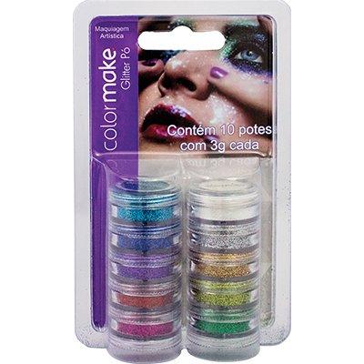 Glitter p/ pele em pó Color Make c/ 10 cores Yur BT 1 KT