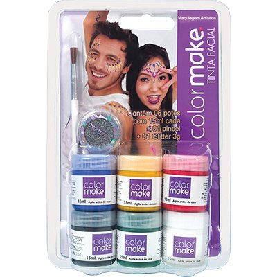 Tinta facial Color Make c/6 cores + glitter+ pincel Yur BT 1 KT