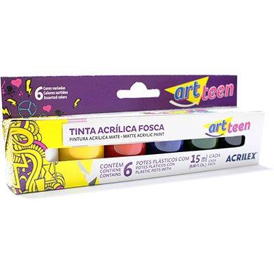 Tinta acrilica fosca 15ml c/6 cores 03506 Acrilex CX 1 CJ