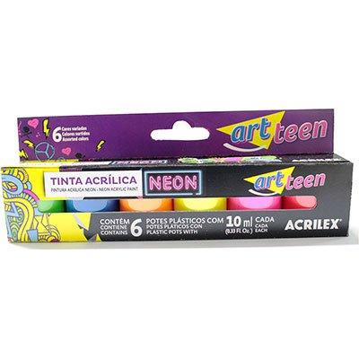 Tinta acrilica fosca 10ml c/6 cores neon 03905 Acrilex CX 1 UN