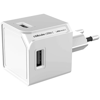 Carregador de tomada c/4 saídas USB bivolt branco USBCUBE Elg BT 1 UN