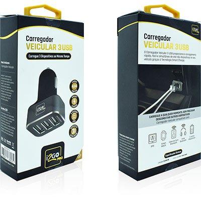 Carregador veicular c/3 portas USB PROCAR015 I2Go BT 1 UN