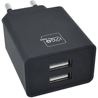 Carregador de tomada c/2 portas USB bivolt preto PROWAL020 I2Go BT 1 UN
