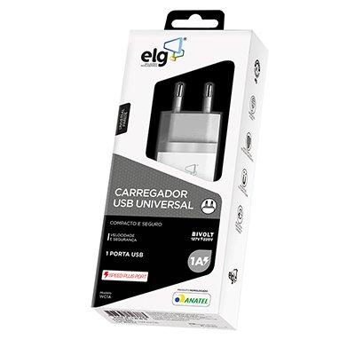 Carregador de tomada c/1 saída USB bivolt WC1A Elg BT 1 UN