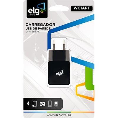Carregador de tomada c/1 saída USB bivolt preto WC1APT Elg CX 1 UN
