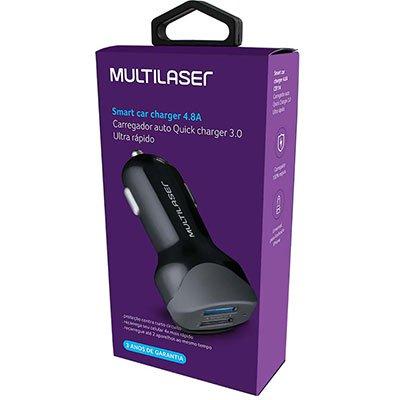 Carregador veicular c/ 2 portas concept Quick Charger 3.0 USB preto CB114 Multilaser CA 1 UN