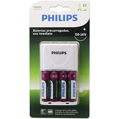 Carregador p/pilha recarregável AA/AAA c/4 pilhas AA Philips BT 1 UN