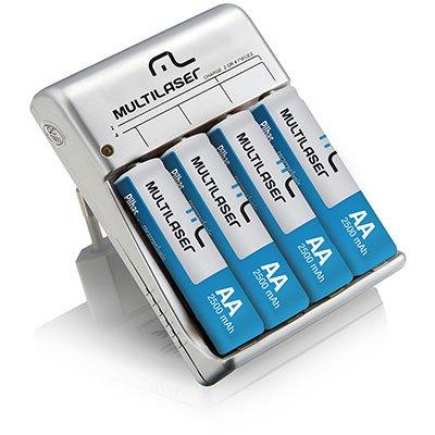 Carregador p/ pilha recarregável AA/AAA c/ 4 pilhas CB054 Multilaser BT 1 UN