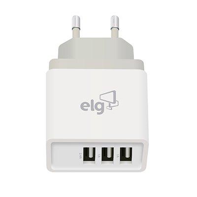 Carregador de tomada c/ 3 saídas USB bivolt Branco WC3S Elg BT 1 UN