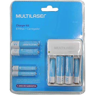Carregador p/ pilha recarregável AA/AAA c/ 8 pilhas CB093 Multilaser BT 1 UN