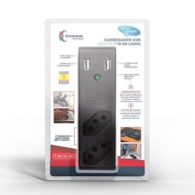 Carregador de tomada USB 2,1A + Filtro preto FL-USB21 Coletek CX 1 UN