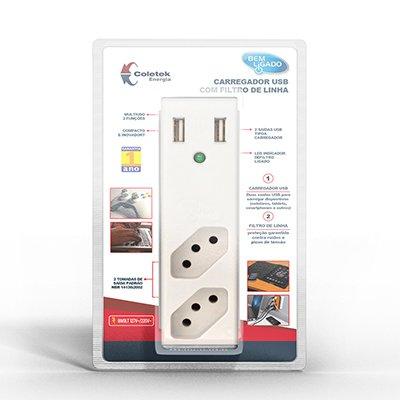Carregador de tomada USB 2,1A + Filtro branco FL-USB21 Coletek CX 1 UN