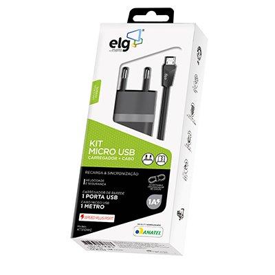 Carregador de tomada c/1 porta USB bivolt + cabo micro USB KT510WC - Elg BT 1 UN