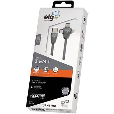 Cabo 3 em 1 lightning /micro USB/USB-C 1,5m PW31C Elg BT 1 UN