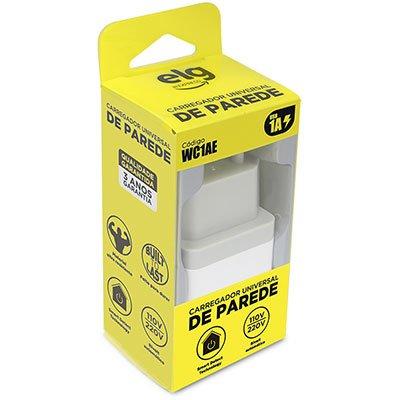 Carregador de tomada c/1 saída USB bivolt branco WC1AE Elg BT 1 UN