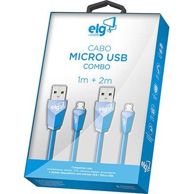 Cabo de sincronia/recarga micro USB 1m+2m CMB512BE Elg BT 1 UN