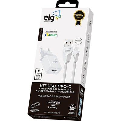 Carregador de tomada c/1 saída USB + cabo USB-C Elg CX 1 UN