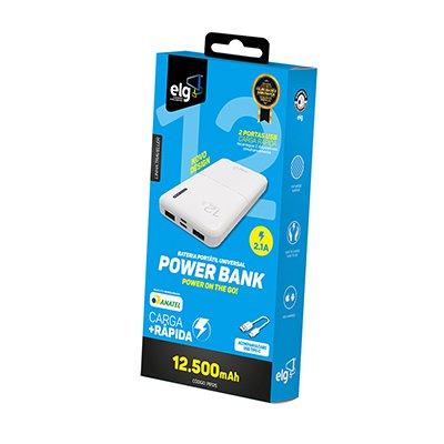 Carregador portátil usb p/Smartphone 12.500mAh branco PB125 Elg PT 1 UN