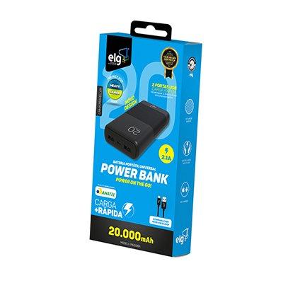 Carregador portátil usb p/Smartphone 20000mAh PB200BK Elg CX 1 UN