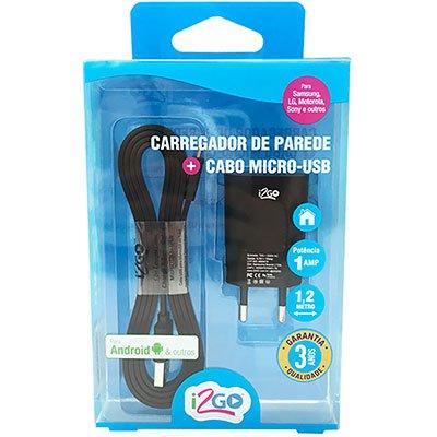 Carregador de tomada c/ 1 saída USB+cabo micro USB preto KIT002 I2Go PT 1 UN
