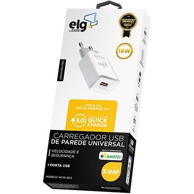 Carregador de tomada c/1 saída USB Quick Charge bc WC1S-QC3 Elg CX 1 UN