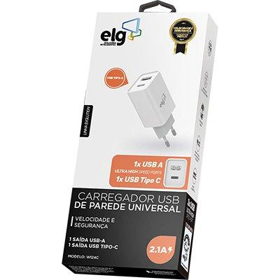 Carregador de tomada c/1 saída USB + 1 saída USB-C bc W124C Elg CX 1 UN