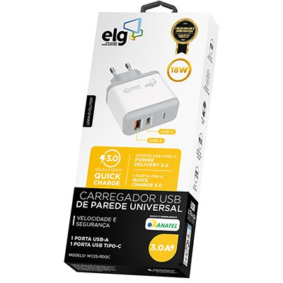Carregador de tomada c/1 saída USB + 1 saída USB-C WC2S-PDQC Elg CX 1 UN