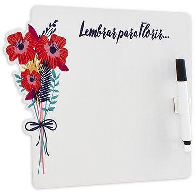 Painel metálico 26,5x19,5 Porta-Recados Floral Geguton PT 1 UN