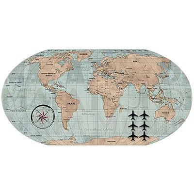 Painel metálico mapa mundi vintage Geguton PT 1 UN