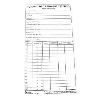 Cartão de ponto horário de trabalho externo 1131 Tamoio PT 100 FL