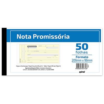 Nota promissória c/ 50fls 209x99 371 Spiral UN 1 UN