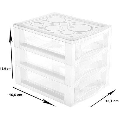 Gaveteiro plástico de mesa c/3 gavetas OR81200 Ordene PT 1 UN