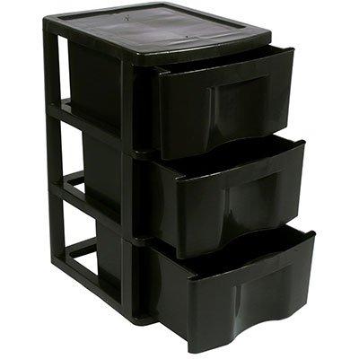 Gaveteiro plástico de chão 3 gavetas preto GV14 São Bernardo PT 1 UN