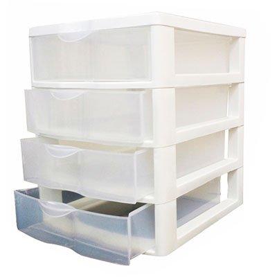 Gaveteiro plástico de mesa c/4 gavetas branco 004B Nitron PT 1 UN