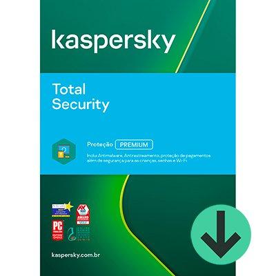Kaspersky Antivírus Total Security 1 dispositivo, Licença 12 meses, Digital para Download - UN 1 UN