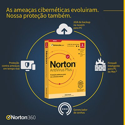 Norton Antivírus Plus para 1 dispositivo, Licença 12 meses, Digital para Download, NortonLifeLock - UN 1 UN
