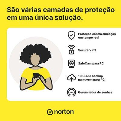 Norton Antivírus Security Standart 1 dispositivo, Licença 12 meses, Digital para Download, Nortonlifelock - UN 1 UN