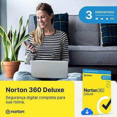 Norton Antivírus Security 360 Deluxe 3 dispositivos, Licença 12 meses, Digital para Download, Nortonlifelock - UN 1 UN