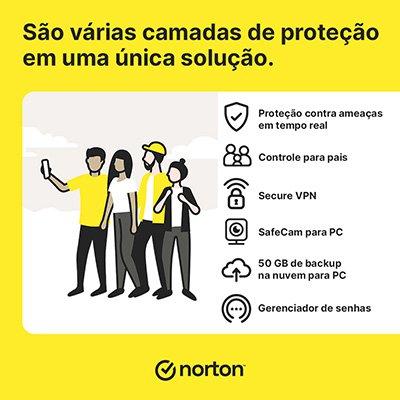 Norton Antivírus Security 360 Deluxe 5 dispositivos, Licença 12 meses, Digital para Download, Nortonlifelock - UN 1 UN